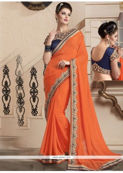 Dignified Patch Border Work Orange Trendy Saree