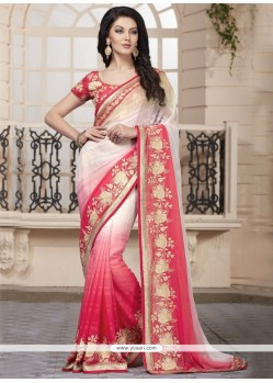 Simplistic Faux Chiffon Cream And Rose Pink Traditional Saree