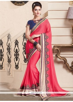 Glossy Georgette Embroidered Work Classic Saree