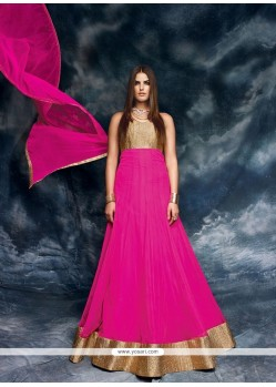 Beautiful Georgette Hot Pink Patch Border Work Designer Floor Length Salwar Suit
