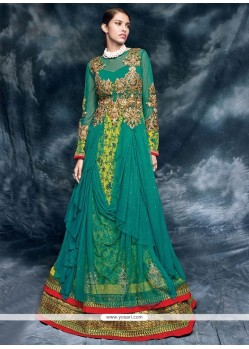 Imposing Green Embroidered Work Designer Floor Length Salwar Suit