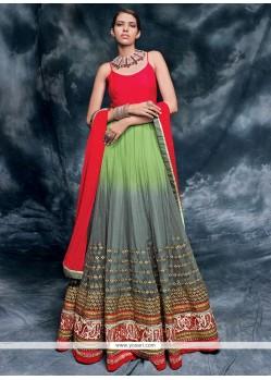 Miraculous Net Multi Colour Embroidered Work Designer Floor Length Salwar Suit