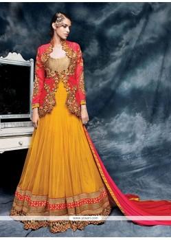 Distinctively Net Embroidered Work Designer Floor Length Salwar Suit