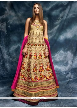 Beauteous Patch Border Work Beige Designer Floor Length Salwar Suit