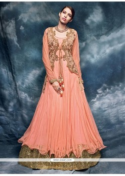 Perfect Net Rose Pink Patch Border Work Designer Floor Length Salwar Suit