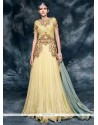 Imperial Embroidered Work Cream Silk Designer Floor Length Salwar Suit