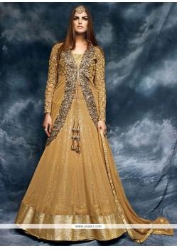 Fabulous Embroidered Work Net Beige Designer Floor Length Salwar Suit