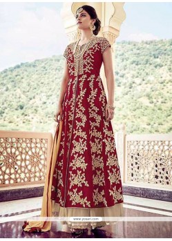 Magnificent Maroon Patch Border Work Anarkali Salwar Kameez