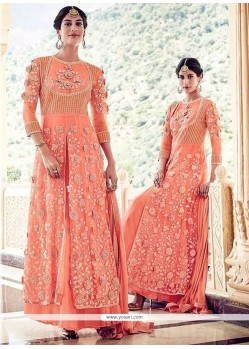 Magnetic Orange Anarkali Salwar Kameez