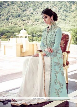 Superlative Georgette Turquoise Anarkali Suit