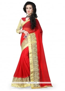 Pleasance Georgette Red Patch Border Work Traditional Saree