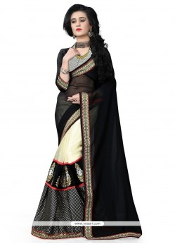 Modern Net Black Embroidered Work Classic Designer Saree