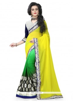 Resplendent Green And Yellow Patch Border Work Trendy Saree