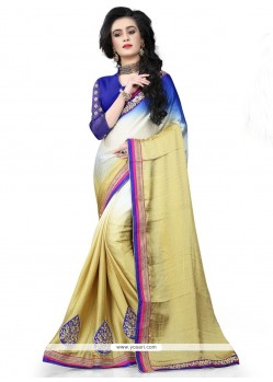 Celestial Patch Border Work Beige Trendy Saree