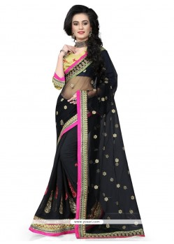 Perfect Patch Border Work Black Classic Designer Saree