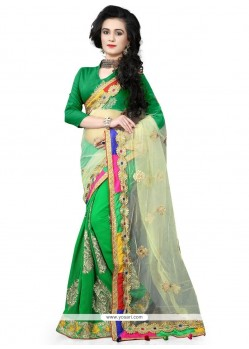 Elite Green Patch Border Work Net Classic Saree