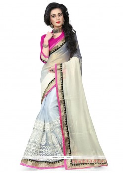 Prominent Patch Border Work Georgette Traditional Saree