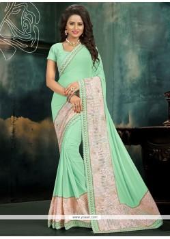 Astonishing Sea Green Classic Designer Saree