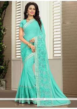 Irresistible Georgette Turquoise Classic Saree