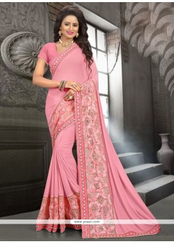 Pink Embroidered Work Georgette Traditional Saree
