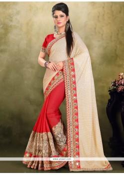 Celestial Lycra Red Classic Designer Saree