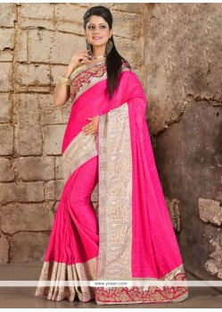 Astonishing Hot Pink Embroidered Work Satin Classic Saree