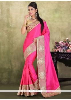 Miraculous Patch Border Work Hot Pink Designer Traditional Sarees