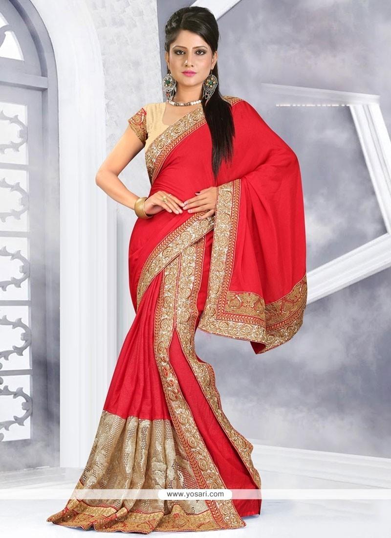 Fantastic Georgette Red Classic Designer Saree