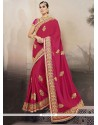 Patch Border Georgette Designer Traditional Sarees In Hot Pink