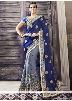 Affectionate Georgette Blue Classic Designer Saree