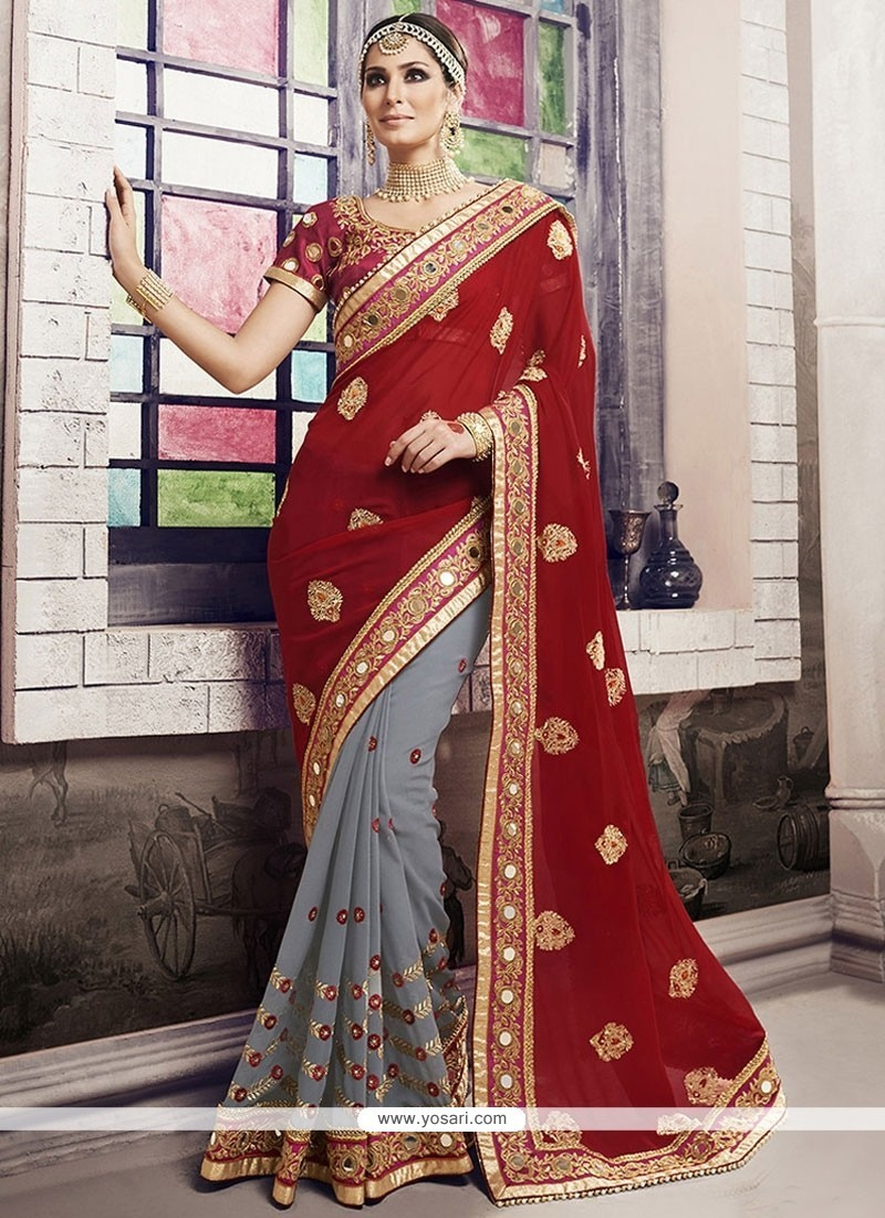 Sumptuous Embroidered Work Georgette Traditional Saree
