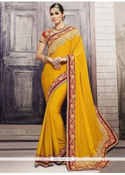Genius Mustard Patch Border Work Traditional Designer Sarees