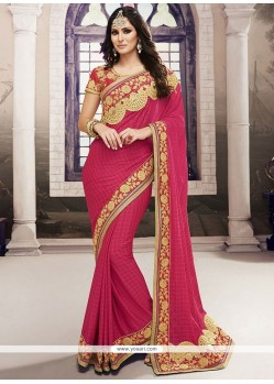 Affectionate Hot Pink Embroidered Work Chiffon Satin Designer Traditional Sarees