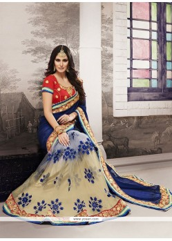 Fab Georgette Embroidered Work Designer Half N Half Saree