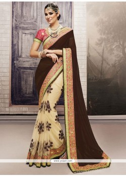 Suave Net Patch Border Work Designer Half N Half Saree
