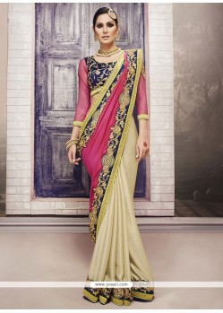 Vibrant Embroidered Work Cream Chiffon Satin Classic Designer Saree