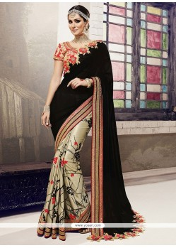 Heavenly Black Patch Border Work Georgette Designer Half N Half Saree