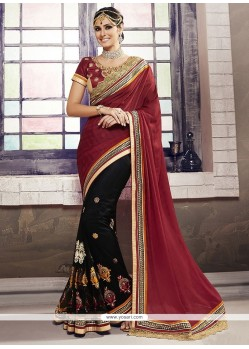 Patch Border Georgette Designer Half N Half Saree In Black