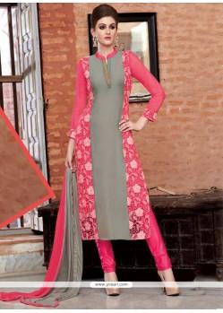 Tantalizing Bamber Georgette Pink Churidar Designer Suit
