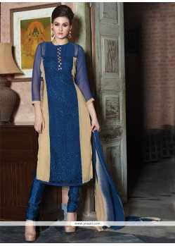 Prominent Bamber Georgette Blue Churidar Designer Suit