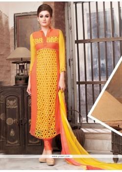Superb Embroidered Work Churidar Designer Suit