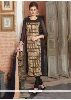 Affectionate Embroidered Work Bamber Georgette Churidar Designer Suit