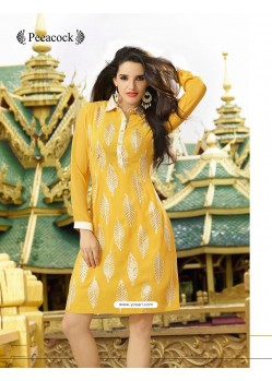 Gold Print Yellow Color Kurti