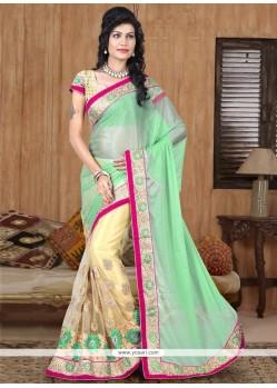 Glorious Beige Net Designer Half N Half Saree