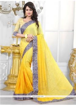 Prominent Jacquard Yellow Designer Traditional Sarees