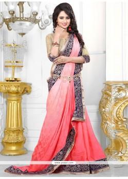 Incredible Rose Pink Jacquard Classic Designer Saree
