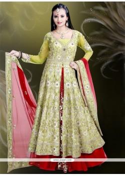 Vibrant Raw Silk Resham Work Designer A Line Lehenga Choli