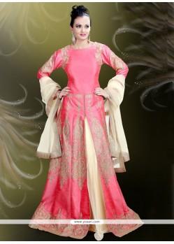 Urbane Patch Border Work Rose Pink Designer A Line Lehenga Choli