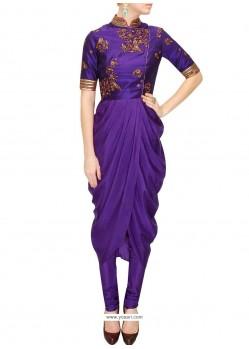 Subtle Raw Silk Purple Embroidered Work Designer Kurti