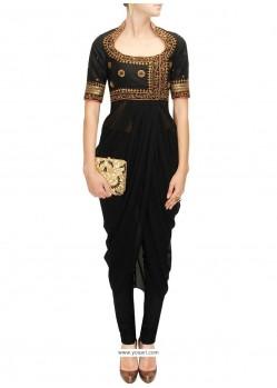 Stylish Raw Silk Black Embroidered Work Designer Kurti